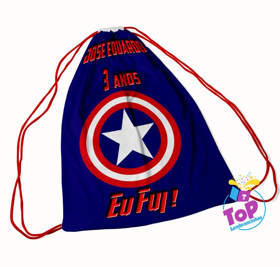 Mochila saco personalizada Capitão America 30x40 cm
