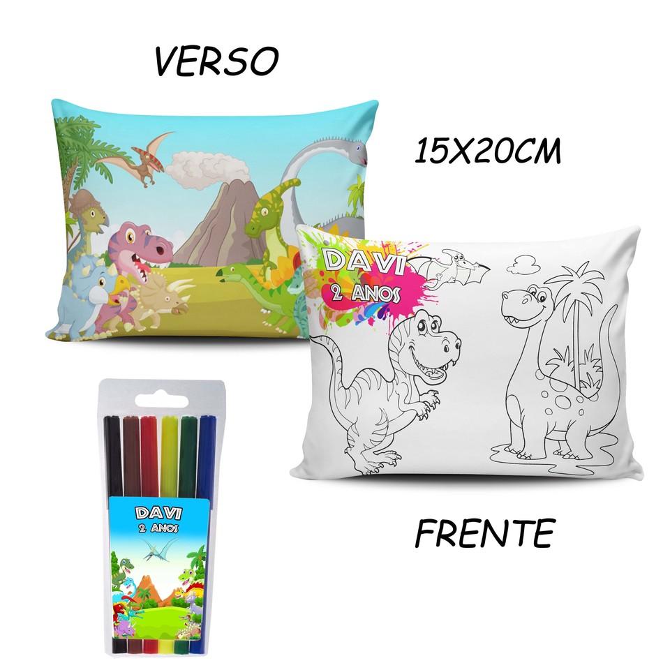 Lembrancinha Dinossauros - Almofada Pinte e Lave 15x20cm