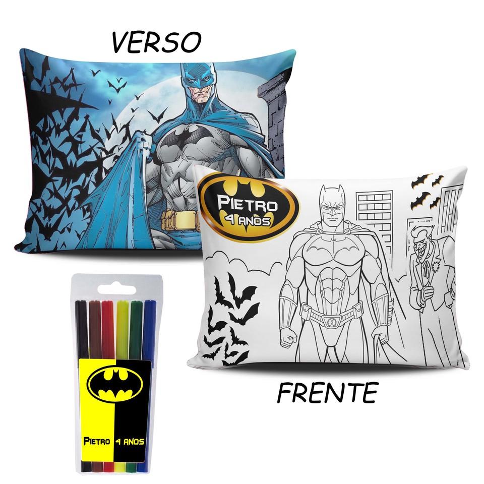 Lembrancinha Batman - Almofada Pinte e Lave 15x20cm
