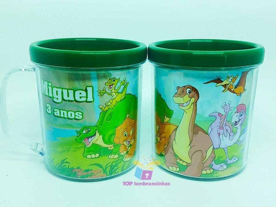 Caneca acrílica Dinossauros - Lembrancinha