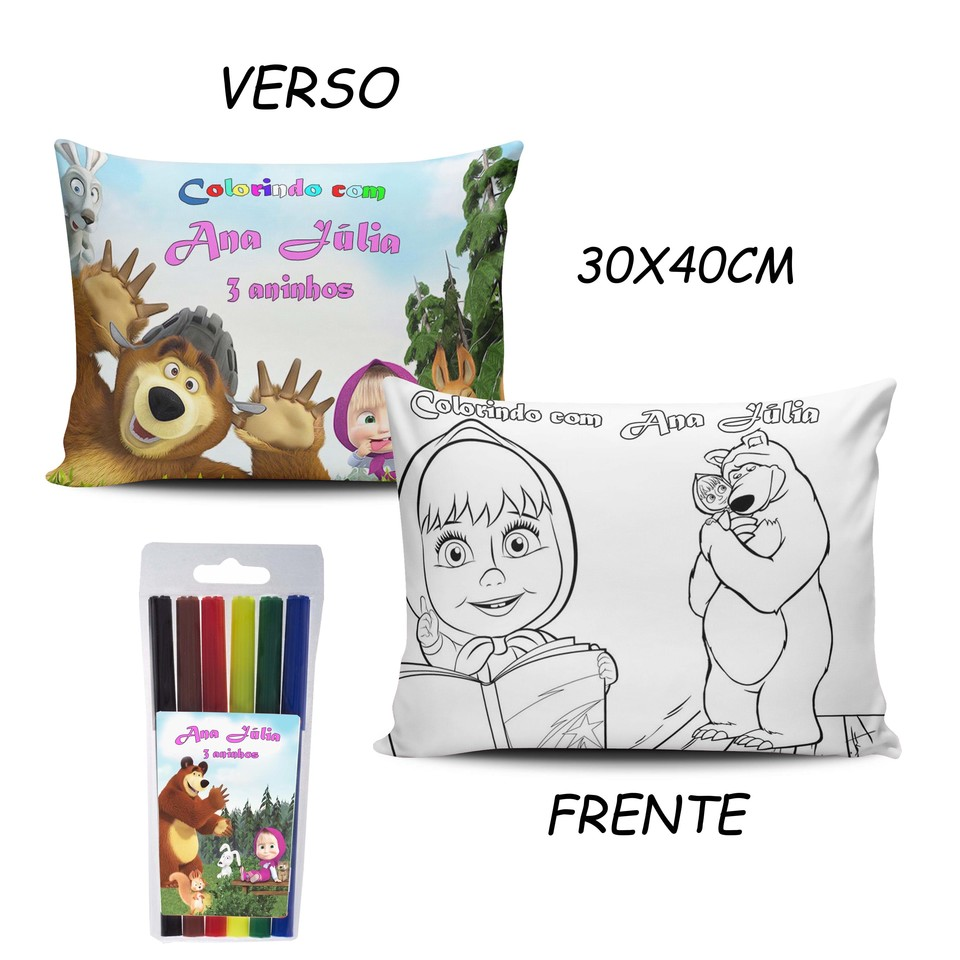 Lembrancinha Masha e o Urso - Almofada Pinte e Lave 30x40cm