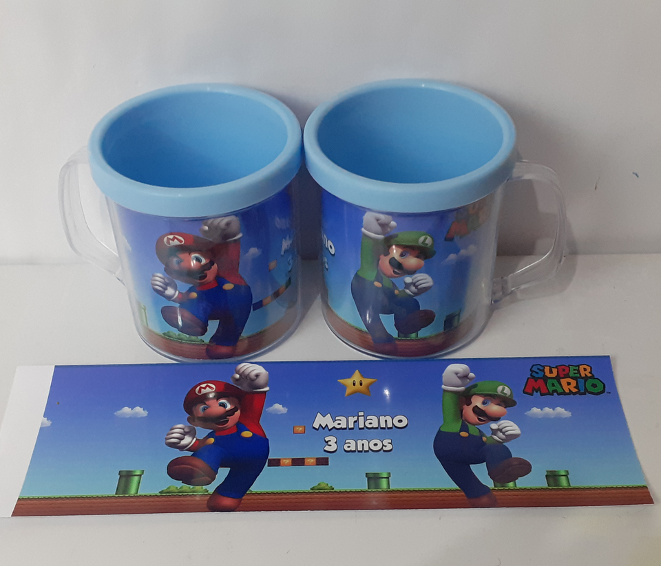 Lembrancinha Super Mario - Caneca de acrílico 380 ml