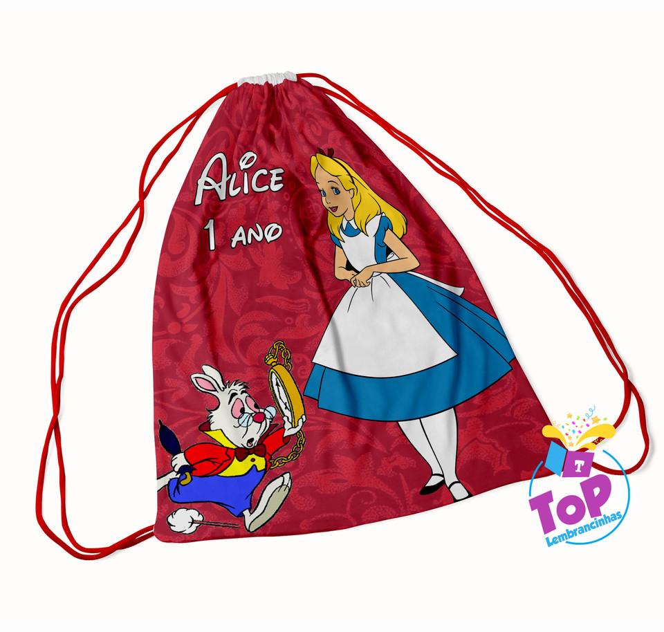Mochila saco Alice no país das maravilhas 20x30cm