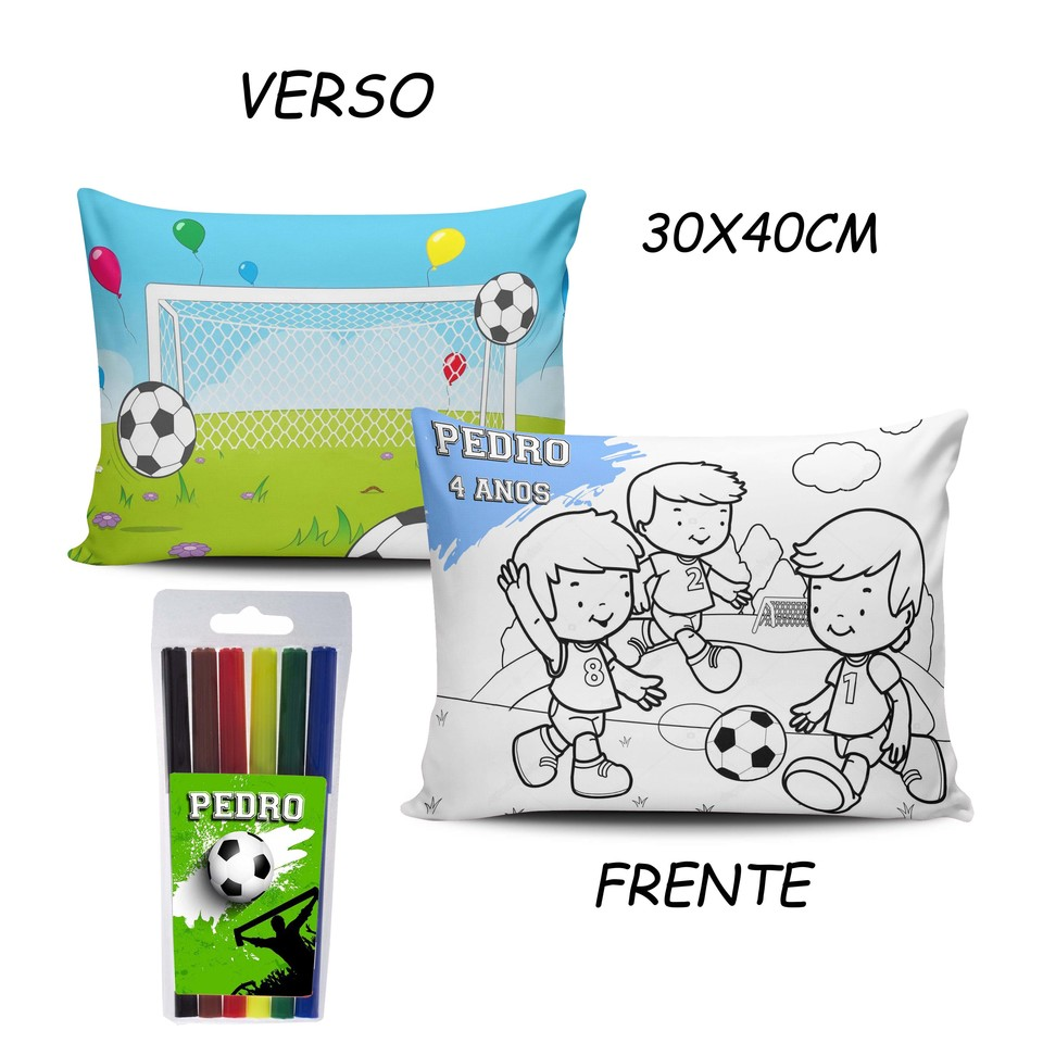 Lembrancinha Futebol - Almofada Pinte e Lave 30x40cm Modelo 2