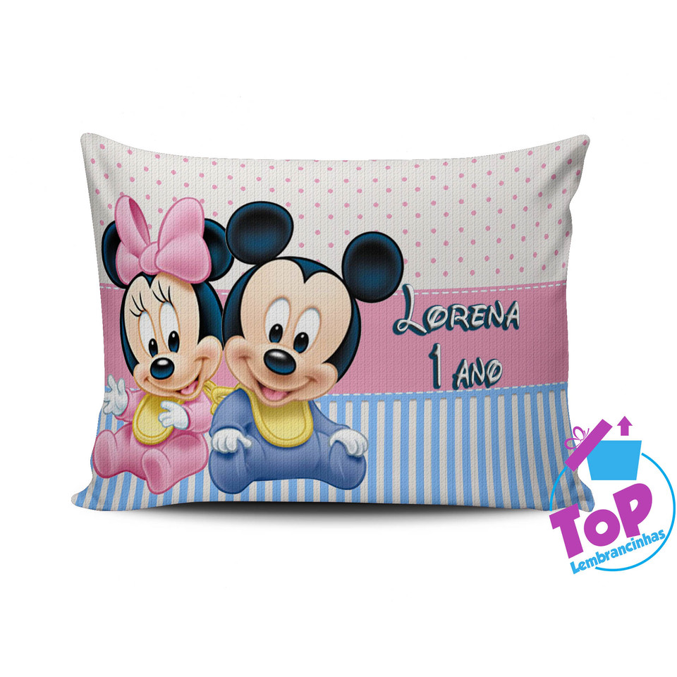 Almofada personalizada Mickey e Minnie Baby 15x20cm