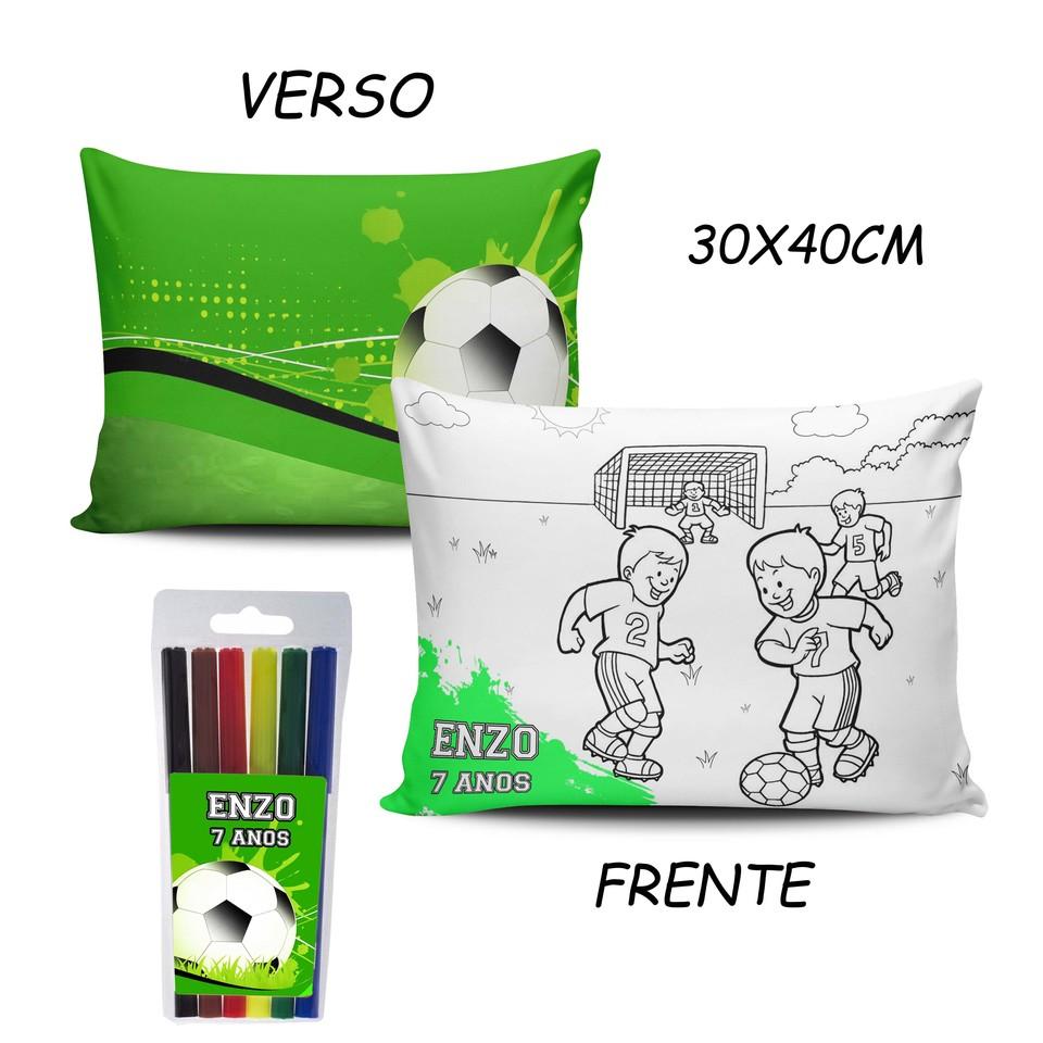 Lembrancinha Futebol - Almofada Pinte e Lave 30x40cm Modelo 1
