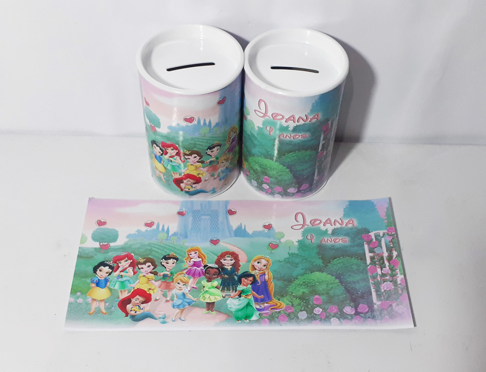 Lembrancinha Princesas Disney - Cofrinho personalizado 6x11cm