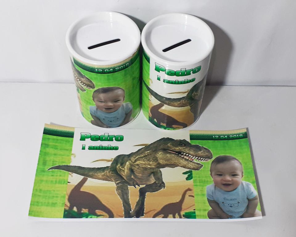 Lembrancinha Dinossauro - Cofrinho personalizado 6x11cm