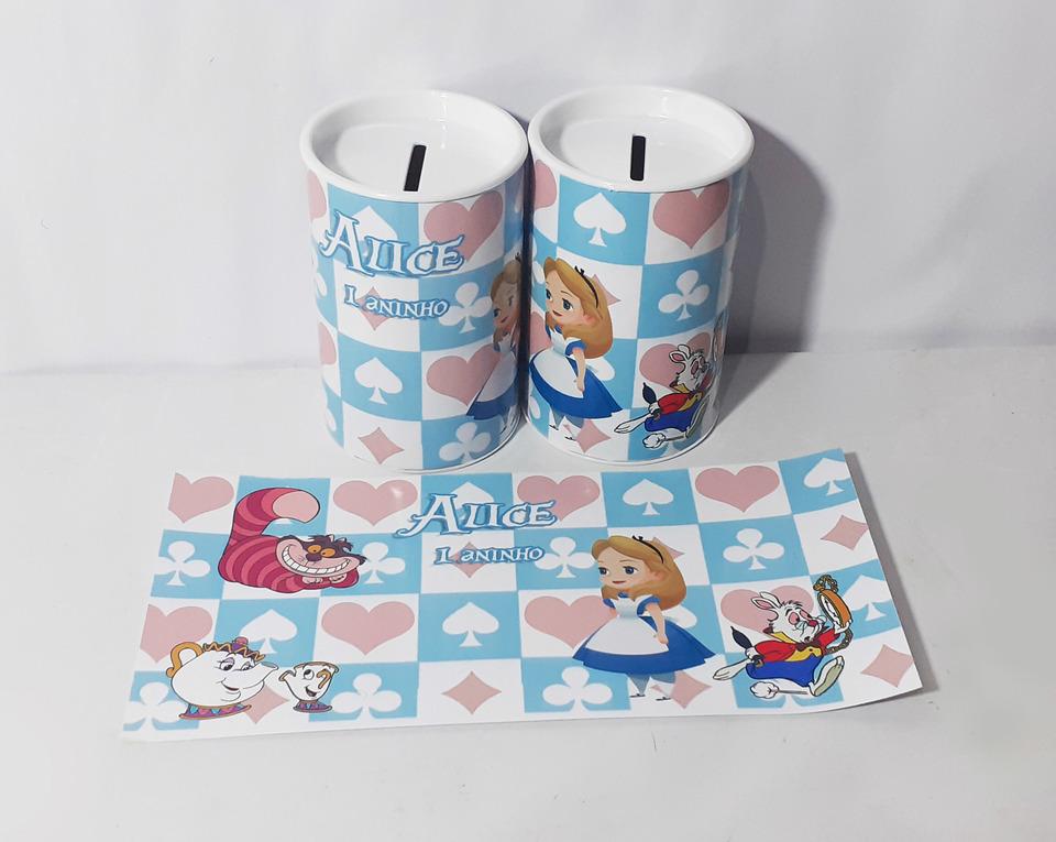 Lembrancinha Alice no País das maravilhas - cofrinho personalizado 6x11cm