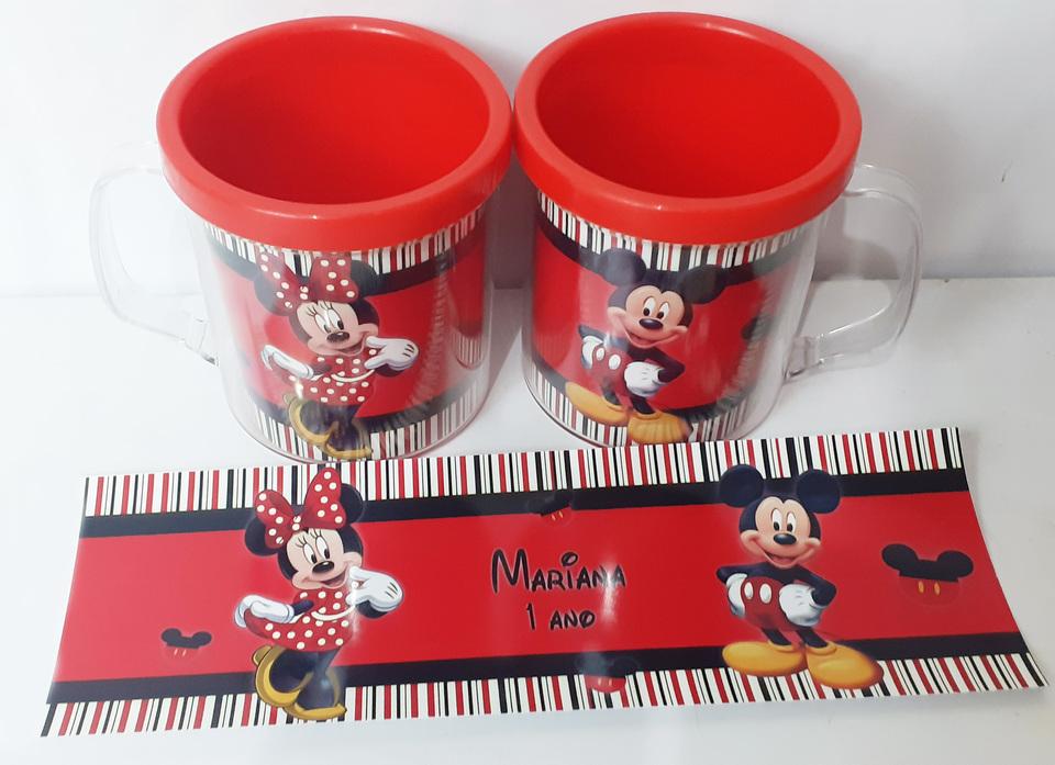 Lembrancinha Mickey e Minnie - Caneca de acrílico 380 ml