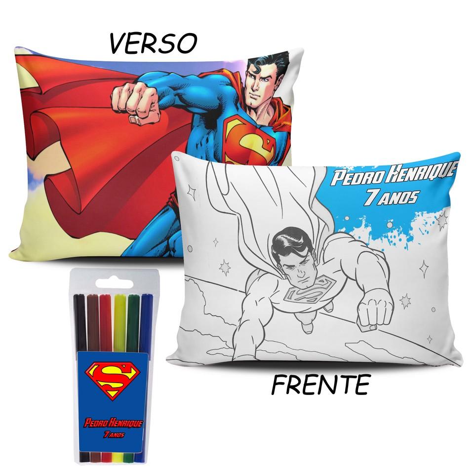 Lembrancinha Super Man - Almofada Pinte e Lave 15x20cm