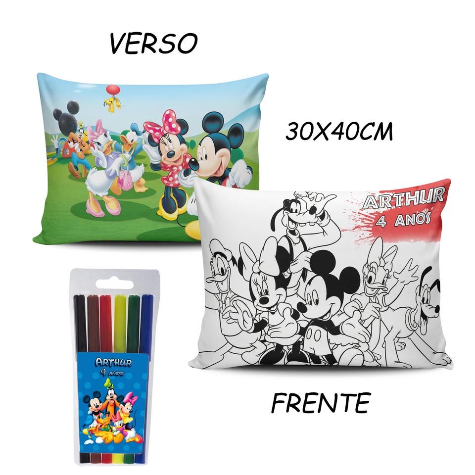 Lembrancinha Turma do Mickey - Almofada Pinte e Lave 30x40cm
