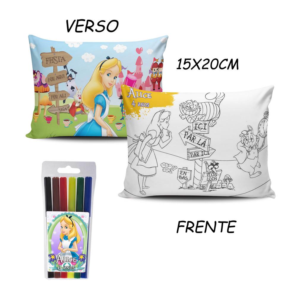 Lembrancinha Alice - Almofada Pinte e Lave 15x20cm