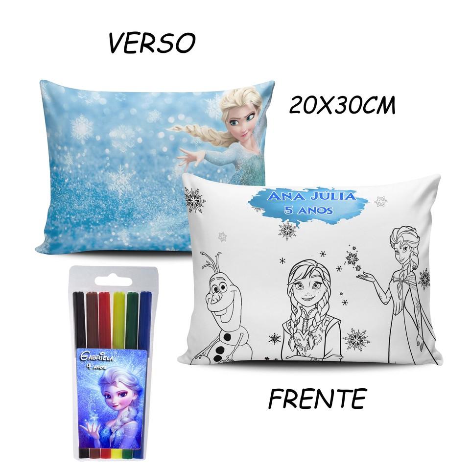 Lembrancinha Frozen - Almofada Pinte e Lave 20x30cm Modelo 2