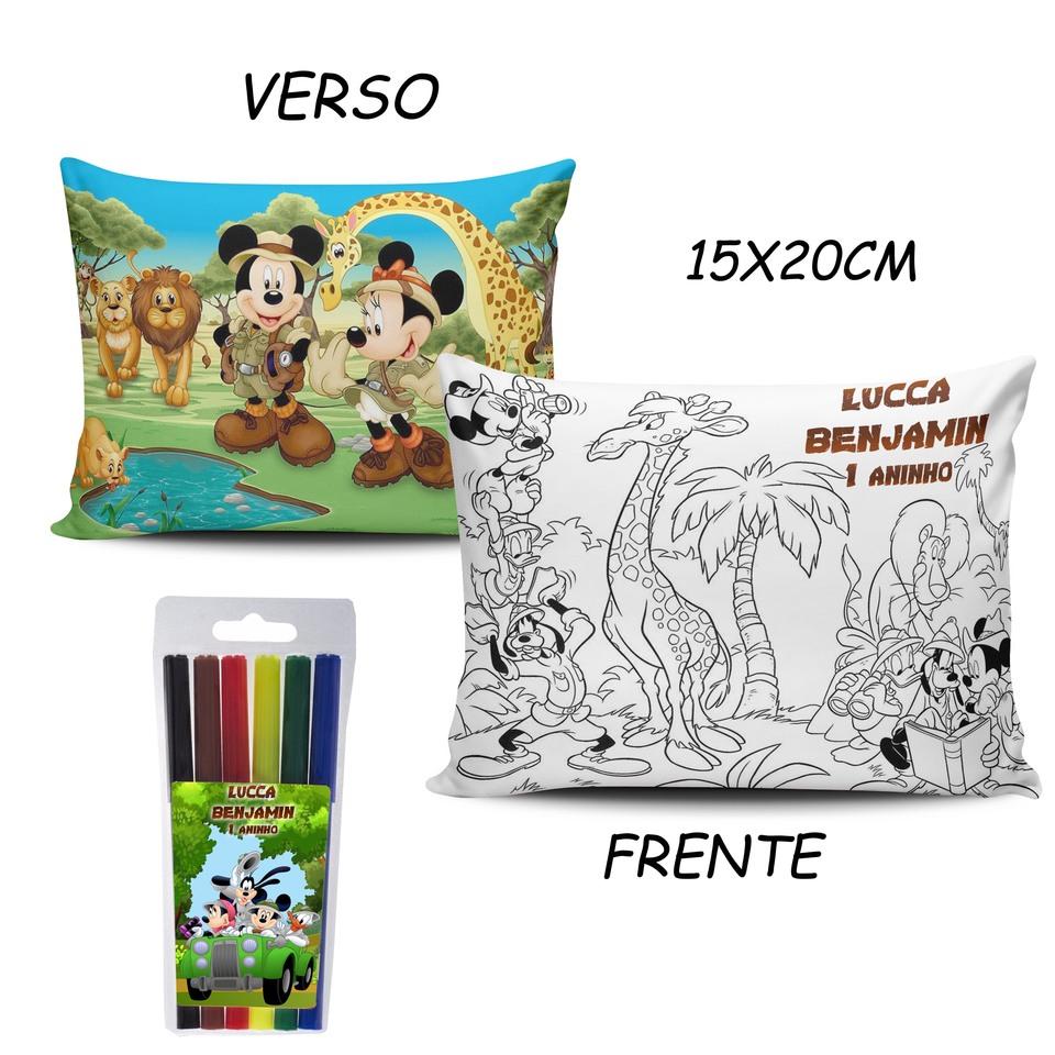 Lembrancinha Mickey Safari - Almofada Pinte e Lave 15x20cm Modelo 1