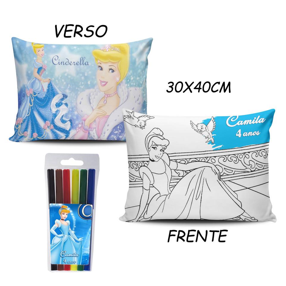 Lembrancinhas Cinderela - Almofada Pinte e Lave 30x40cm