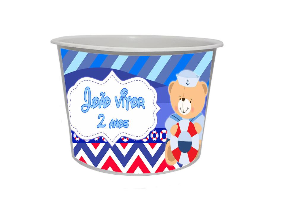 Lembrancinha Urso Marinheiro - Baldinho personalizado 1,5L