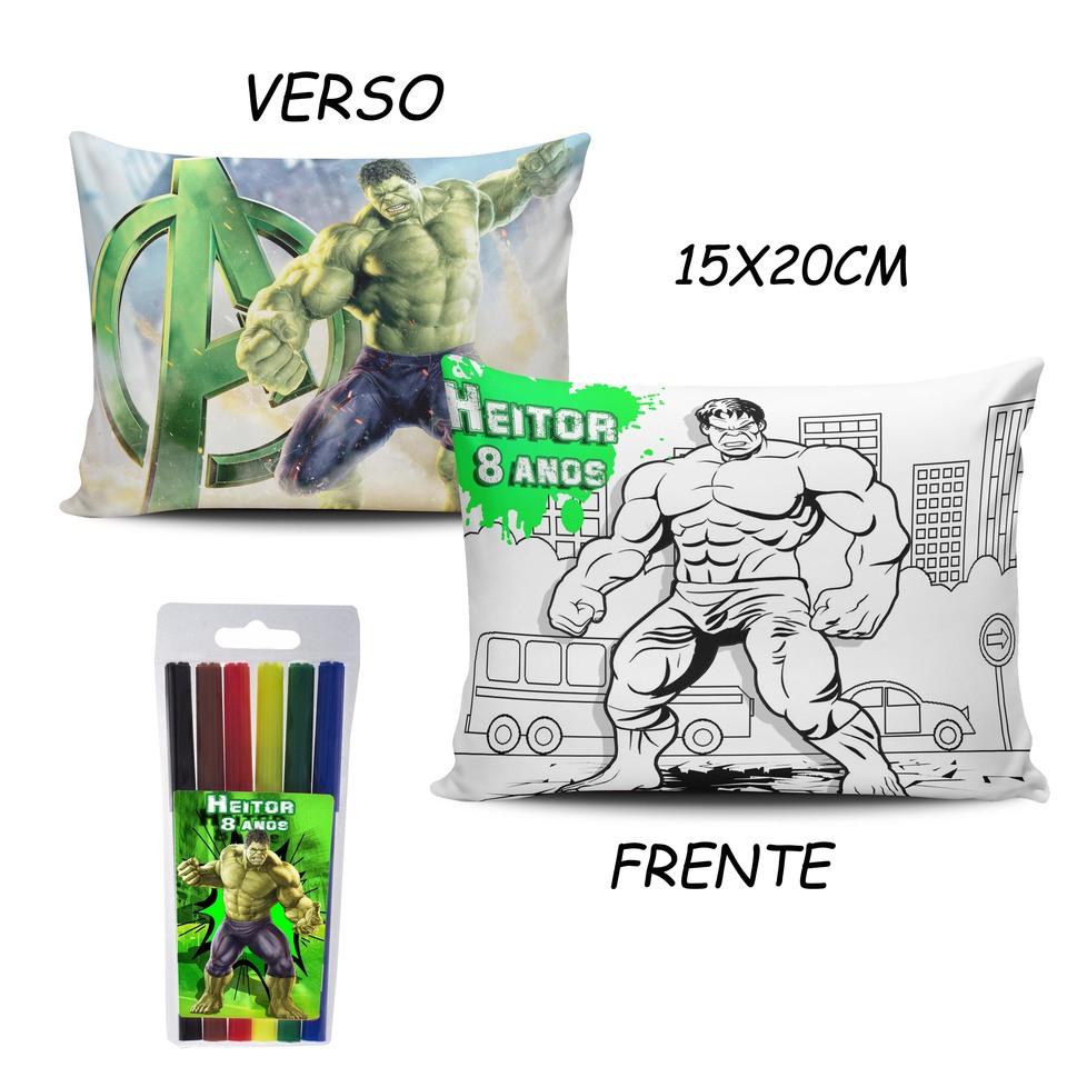 Lembrancinha Hulk - Almofada Pinte e Lave 15x20cm