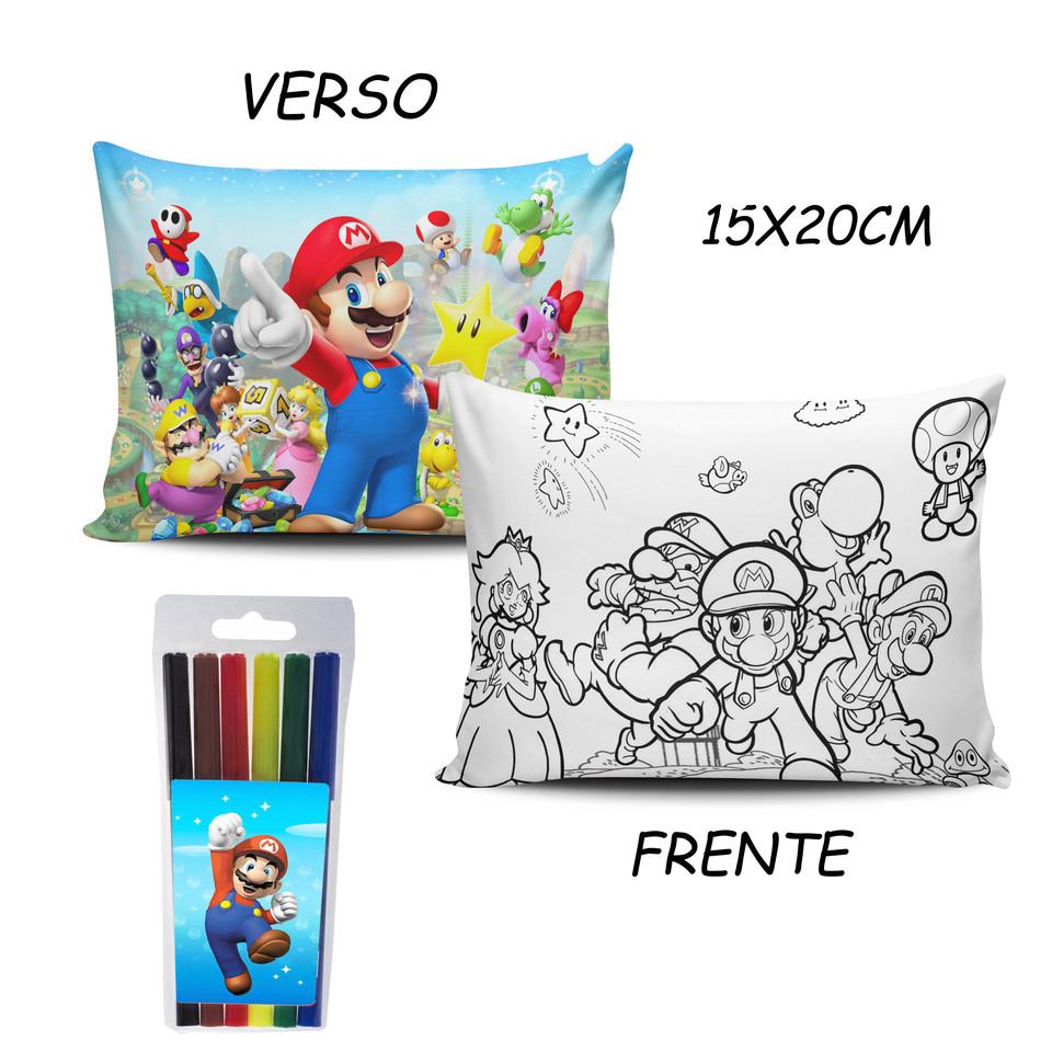 Lembrancinha Super Mario - Almofada Pinte e Lave 15x20cm Modelo 2