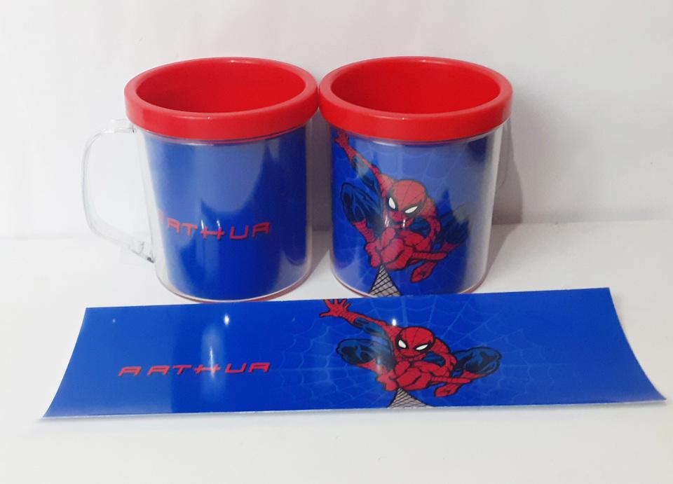 Lembrancinha Homem Aranha - Caneca de acrílico 380 ml