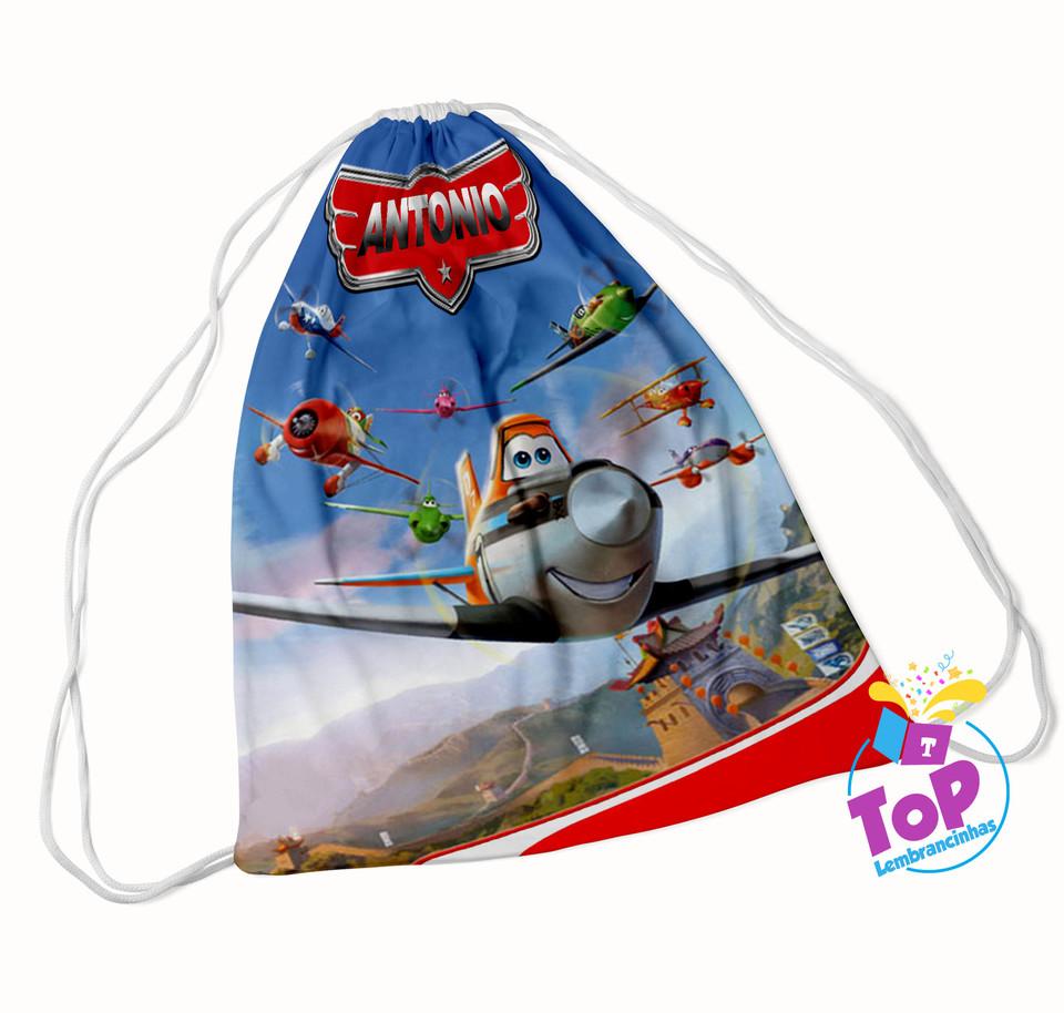 Mochila saco Aviões Disney 20x30 cm