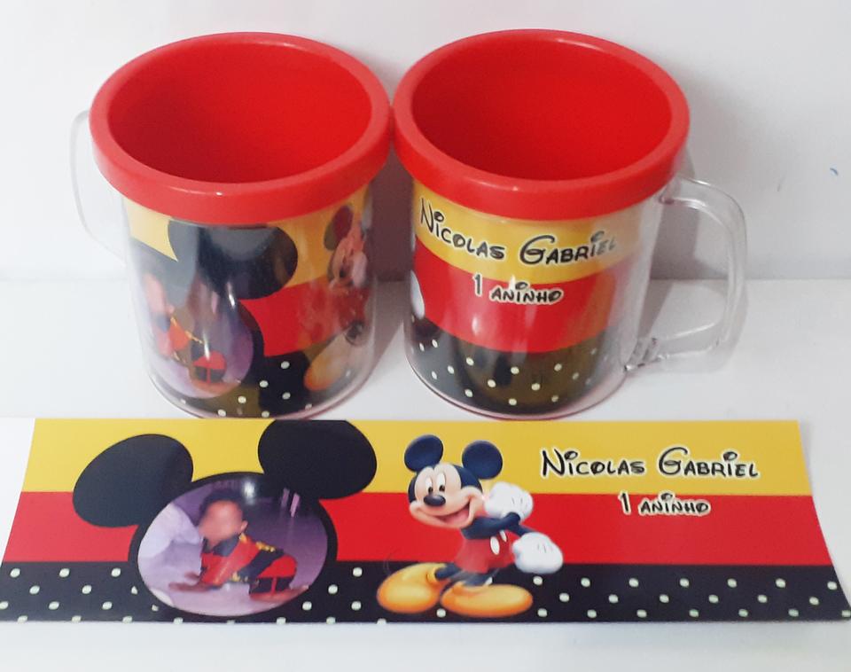 Lembrancinha Mickey - Caneca de acrílico 380 ml