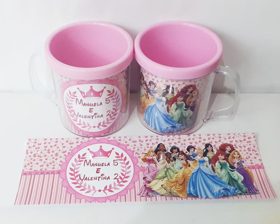 Lembrancinhas Princesas Disney - Caneca de acrílica 380 ml
