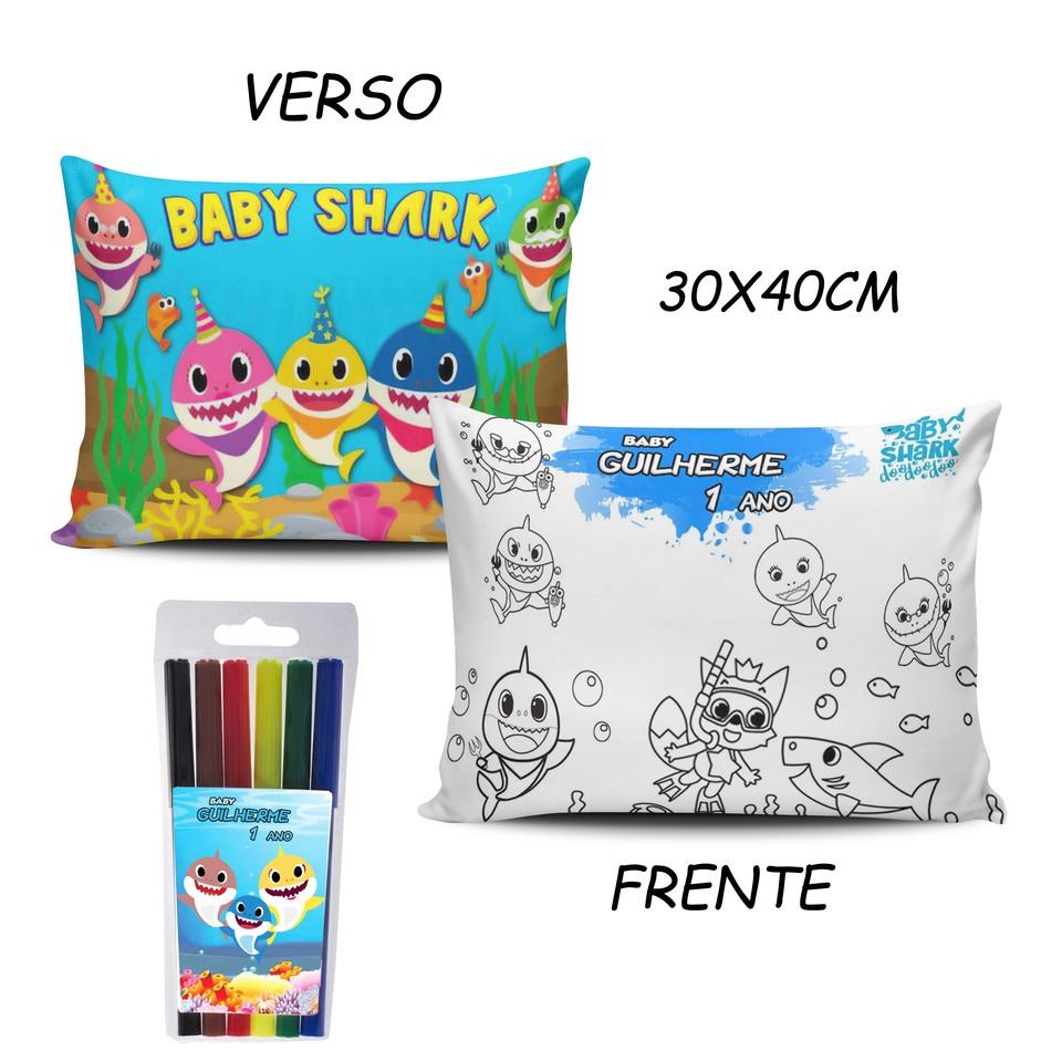 Lembrancinha Baby Shark - Almofada Pinte e Lave 30x40cm