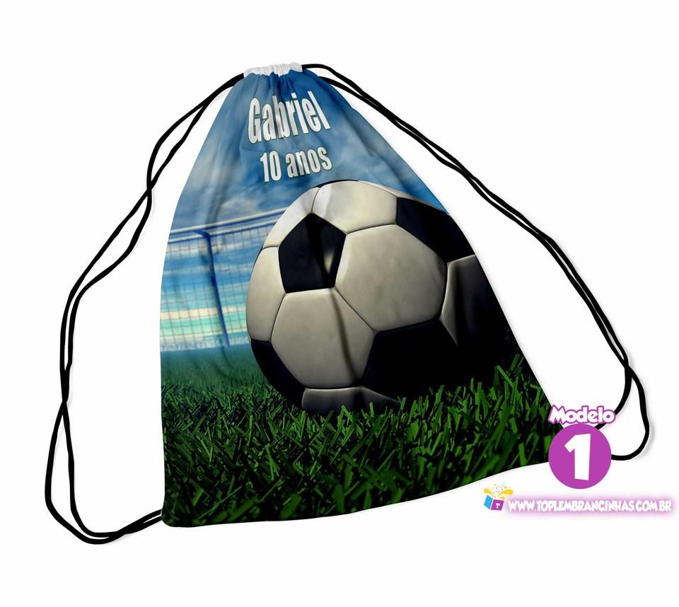 Lembrancinha Mochila saco Futebol 30x40cm