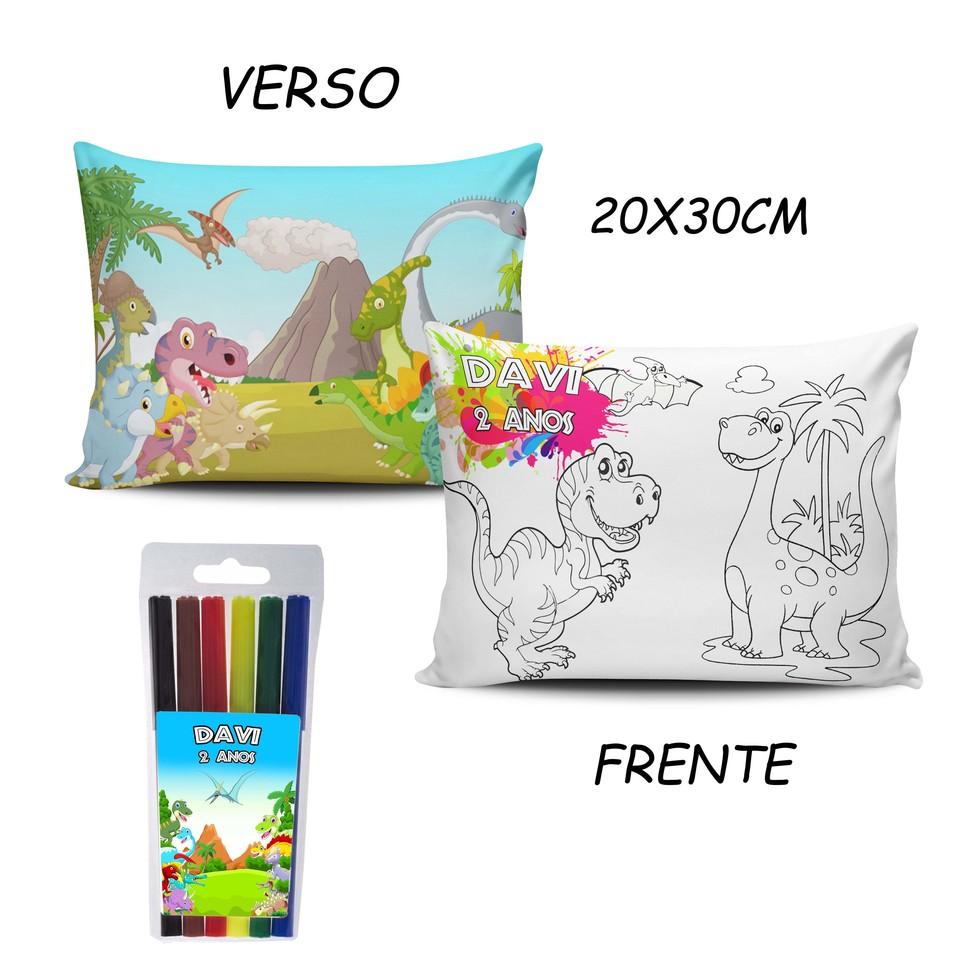 Lembrancinha Dinossauro - Almofada Pinte e Lave 20x30cm