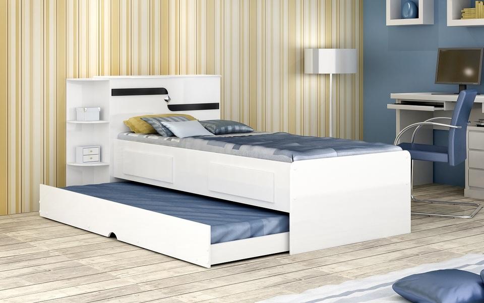 608b1168c4 Bicama Bau Hortencia Solteiro com 2 gavetas e cama Auxiliar Branco e Branco  Preto