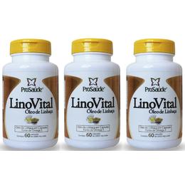03 LinoVital Óleo de Linhaça 60 Cápsulas de 1000g
