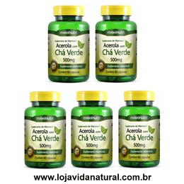 05 Chá Verde + Acerola - 60 Cápsulas - Maxinutri - Frete Grátis