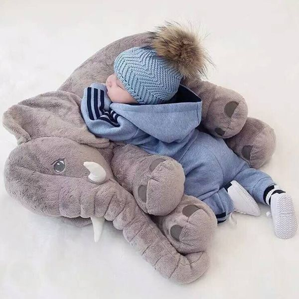 Almofada Travesseiro Elefante De Pelúcia Para Bebê 60cm