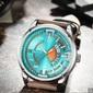 Curren calendário de lazer relógio de quartzo impermeável - Verde Mar