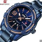 Men Fashion Waterproof Quartz Military Stainless Steel Sports Watches - Blue - Frete Grátis