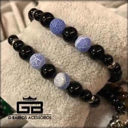 Pulseira black com pedras naturais e quartzo G Barros For Man