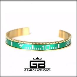 Pulseira aço verde com dourado