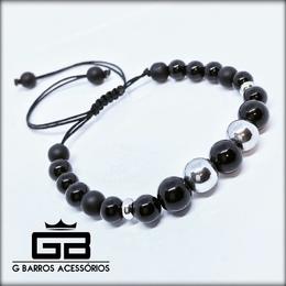 Pulseira black com prata G Barros