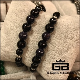Pulseira black com pedra do sol azul brilhante G Barros For Man