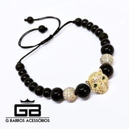 Pulseira Golden Leopard G Barros For Man