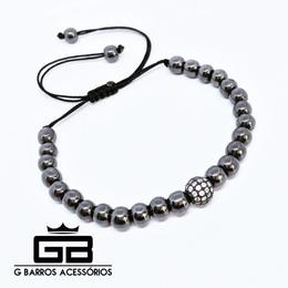 Pulseira White Diamond Ball G Barros For Man