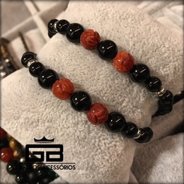 Pulseira black com Coral Marítimo natural G Barros For Man