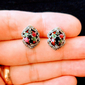 Brinco Rubi Safira Esmeralda e Marcassitas - Prata 925