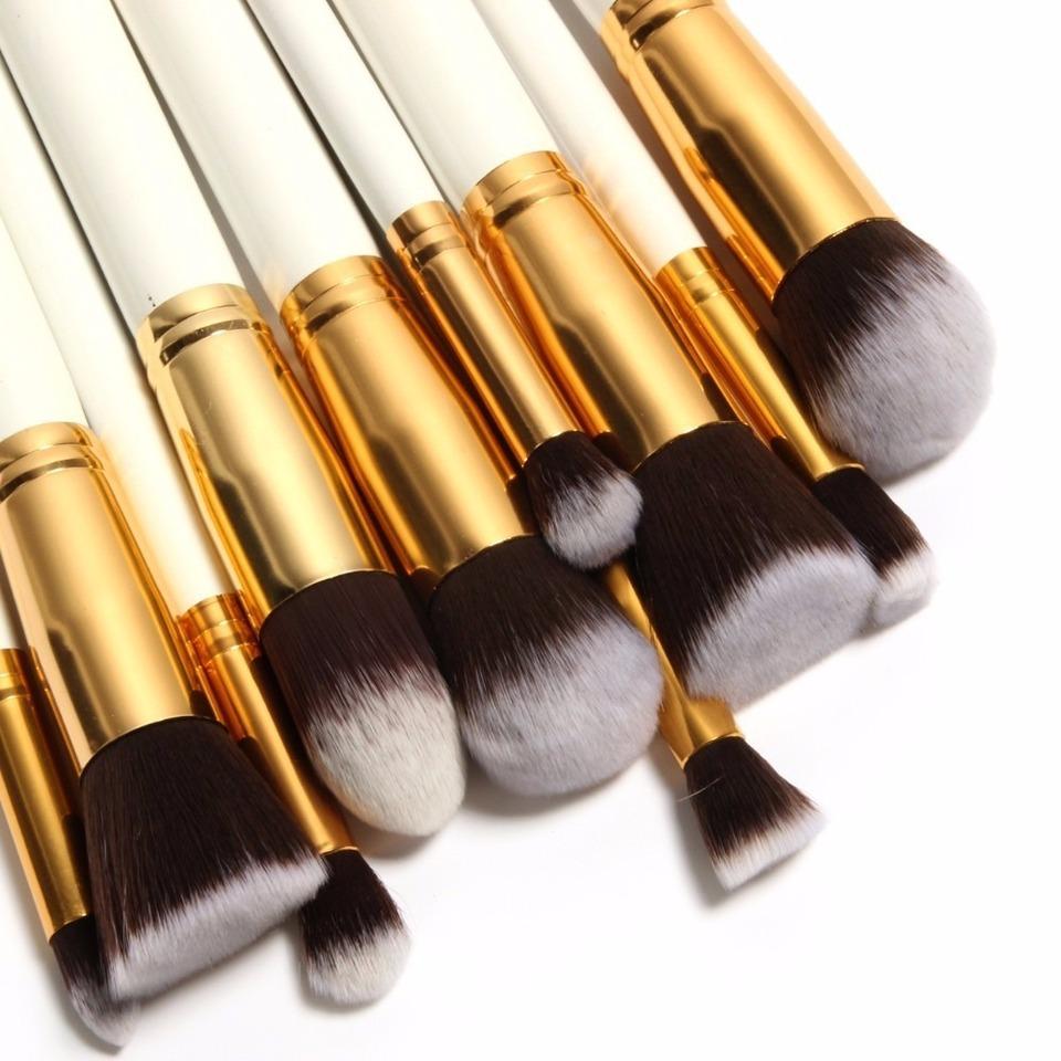 869ab8ec7c317 Kit Pincéis de Maquiagem - 10 peças - Branco c  Dourado - Gamma Loja