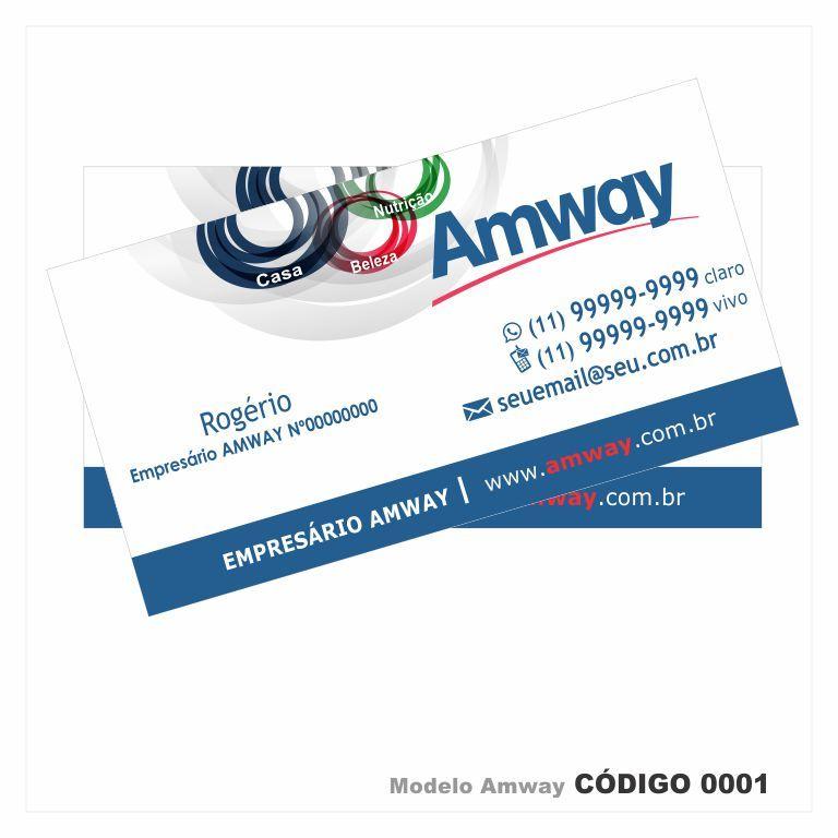 cartões de visita modelo empresário a amway colorido frente em