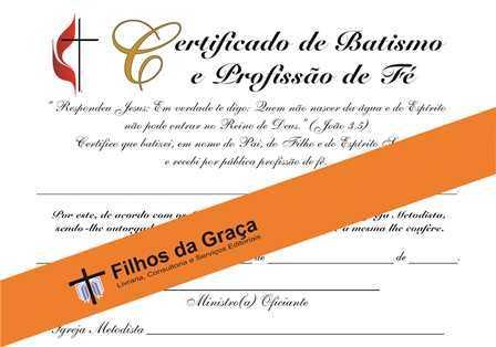 Certificado De Batismo E Profiss O De F Filhos Da Gra A