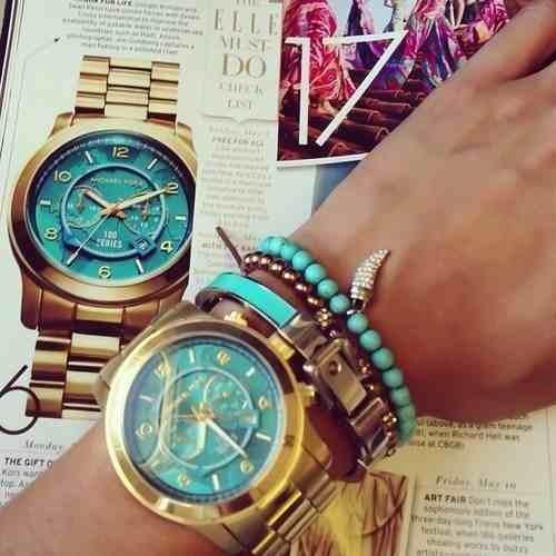 6521e0dd87a Relógio Michael Kors Mk8315 Dourado Turquesa