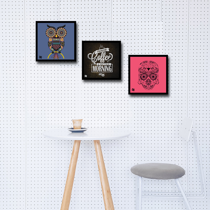 Composição Coruja, Café e Caveira