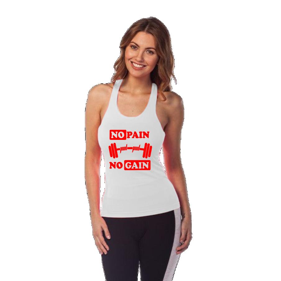 Regata Feminina Cavada No Pain No Gain - Loja Mutante Fitness 065c7f4b660